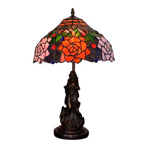 Busirsiz 12' American Retro Lámpara de Escritorio Rosaleda Salón Comedor Dormitorio de Noche Cubierta Contador de la lámpara de Cristal Barra Simple lámpara de Mesa Lámparas de Mesa