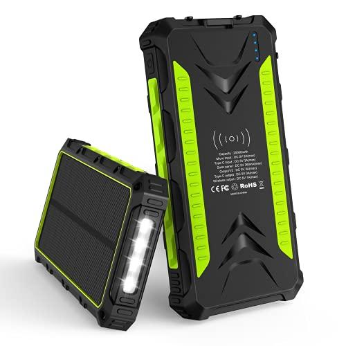 Batterie Solaire, 20000mAh IP54 étanche Chargeur Solaire Portable avec 2 Ports USB et 1 de Type C et Recharge sans Fil 3.0A Charge Rapide Batterie Externe Solaire pour Utilisation en Extérieur