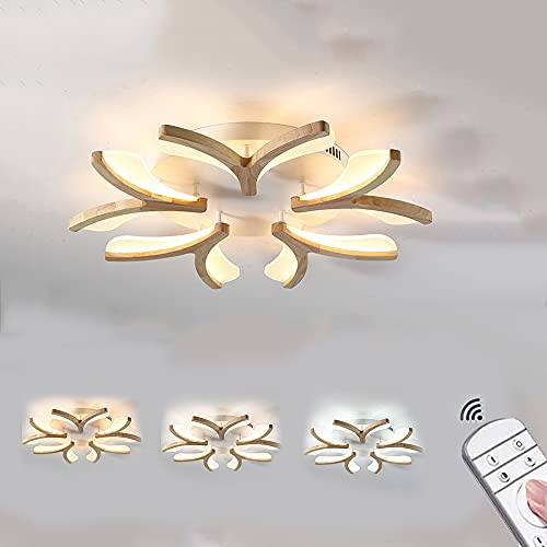 Luz de Techo LED Lámpara de Techo de Madera en Forma de Flor Regulable Plafón de Salón de 5 Lámparas con Mando a Distancia Lámpara de Dormitorio de Techo con Pantalla de Acrílico Blanco Ø70Cm 50W