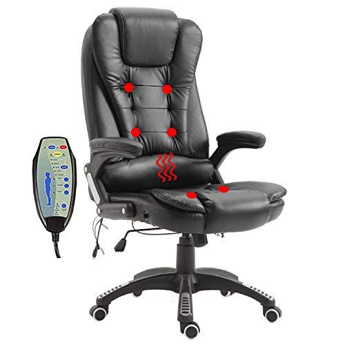 HENGMEI Massagesessel Massage Stuhl Bürostuhl Massagestühle mit Massagefunktion Ergonomischer Drehstuhl Höhenverstellbarer Chefsessel Relaxsessel Bürosessel, 150kg belastbar (Schwarz)
