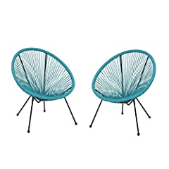 MODERN: With clean lines contrasted perfectly by its round silhouette, our basket chair is the ideal modern accessory for your outdoor space. Finished with thin angled legs, this chair not only a sleek, minimalistic look but also provides a stable st...