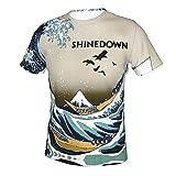 Shinedown Tshirts for Mens Mens Summer Short Sleeveless Shirts 3D Print Clothes Novel Workout Tops Black
