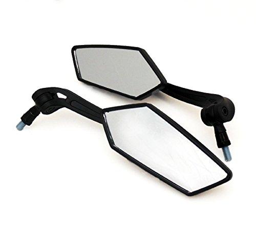 DLLL - Set di specchietti universali regolabili, filettatura destra/destra, 10 mm, piatti, colore: nero, per moto e scooter