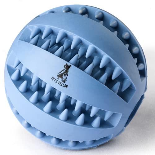 PETSFELLOW® Hundeball aus Naturkautschuk |mit Zahnpflege-Funktion |Noppen für Leckerli | RobusterHunde Ball Ø 7cm| Hundespielzeug mit Premium Qualität