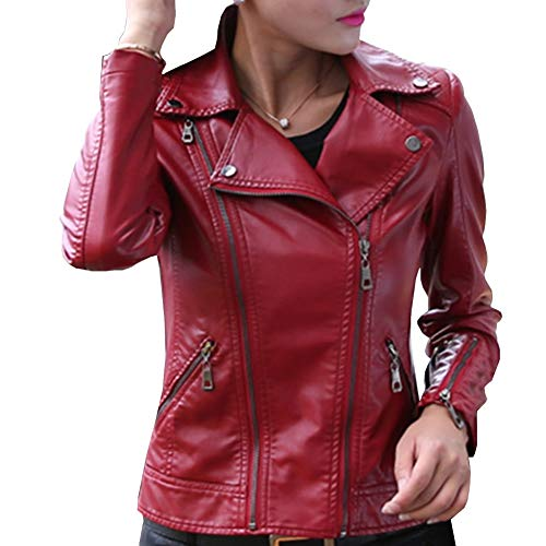 E-girl Chaqueta de piel sintética para mujer, chaqueta de piel sintética, fina, con cremallera y solapa, P8817
