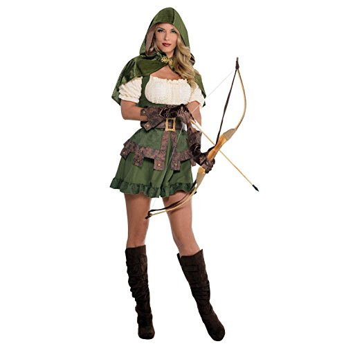 UK 8-10 - Ladies Robin Hood Costume Medieval Vigilante Elf Elven Archer Maid Marion Peter Pan Fancy Dress Fairytale Prince of Thieves