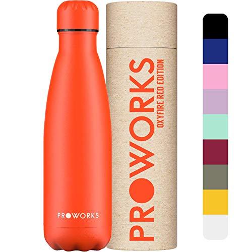 PROWORKS Bottiglia Acqua in Acciaio Inox, Senza BPA Vuoto Isolato Borraccia Termica in Metallo per Bevande Calde per 12 Ore & Fredde 24 Ore, Borraccia per Sport e Palestra - 500ml - Oxy Fire Red