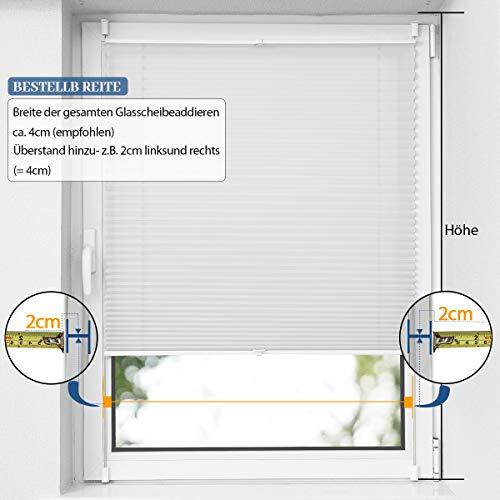 OUBO Plissee Klemmfix Faltrollo ohne Bohren Jalousie mit Klemmträger (Weiß, B40cm x H120cm) Blickdicht Sonnenschutz und Sichtschutz Rollo für Fenster & Tür - 8