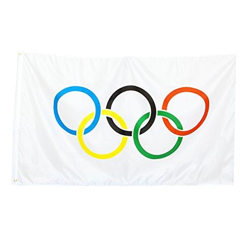 BRUBAKER - Bandera, 1,52 x 0,9 m, diseño de Aros olímpicos