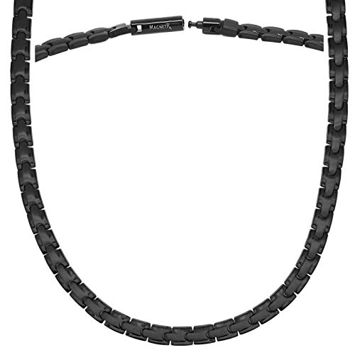 MagnetRX® Titanium Magnetic Therapy Necklace - Natural Pain Relief for Neck Arthritis, Back, Shoulder Pain, Headache and Migraine Relief Magnetic Necklace (Black, 21.5 Inches)