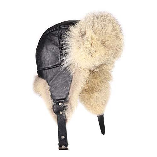 Homme coyote Bonnet Véritable Chapeau de fourrure fourrure hiver Cap Aviator Hat ski hat cap uschanka Bonnet polaire AVIATEUR RUSSE BONNET vraie fourr