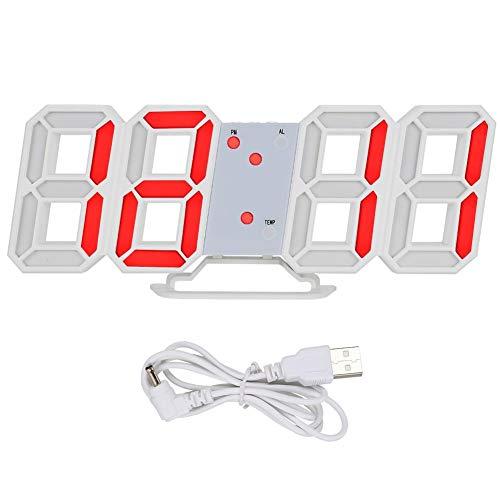 LED wandklok, 3D digitale klok wand LED tafel wandklok, 3D wekker met automatische dimfunctie, weergave van tijd, datum, temperatuur wekker voor slaapkamer keuken (rood)