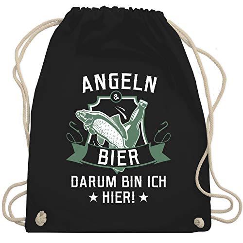 Shirtracer Angeln - Angeln und Bier - Unisize - Schwarz - adventskalender angeln - WM110 - Turnbeutel und Stoffbeutel aus Baumwolle