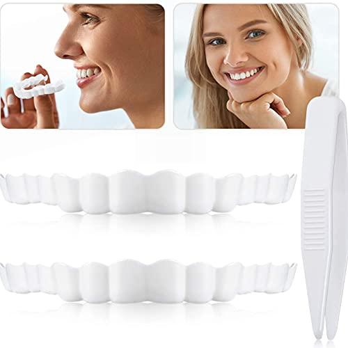 Dentaduras Postizas Inferiores y Superiores Carillas Dentales, Diente de Prótesis Temporal de Blanquear, Flexibles Dientes Limpios y Hermosos Cosméticos Temporales, para Cubrir Los Dientes Perdidos