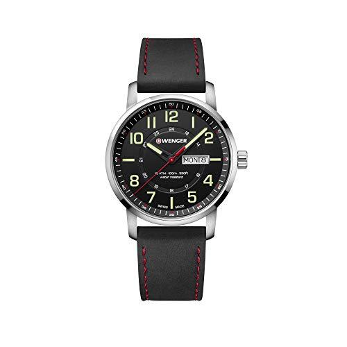 Wenger Hombre Attitude - Reloj de Acero Inoxidable/Cuero de Cuarzo analógico de fabricación Suiza 01.1541.101