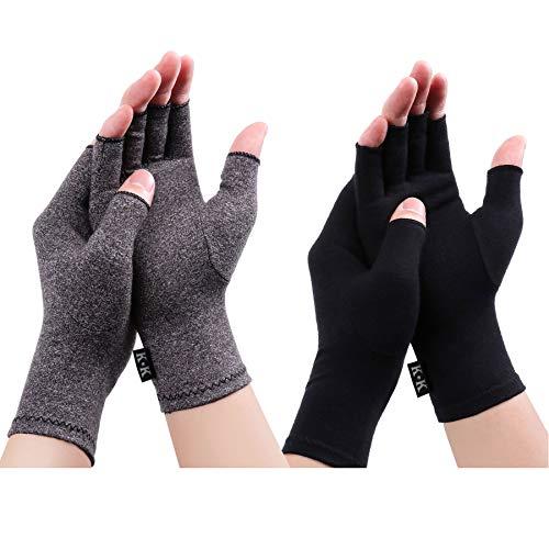Digitek Arthritis Handschuhe - Kompression Rheumatoide Handschuhe Fingerlos Zur Schmerzlinderung handschuh Rehabilitation Schmerzen lindern Tägliche Arbeit Für Männer Frauen (Black+grey, Large)