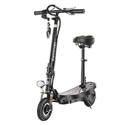 MEETGG Ecooter eléctrico Ecooter Adulto Vespa de Viaje con Asiento fácil de Transportar Altura Plegable Ajustable 350W Motor Velocidad máxima 35km / h (Color: Negro)