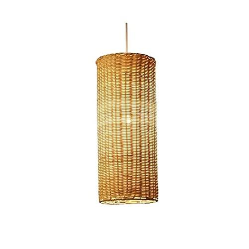 Wlgt Pantalla de techo colgante de ratán hecha a mano cilíndrica de estilo japonés, salón de té, comedor, candelabro de bambú, bricolaje tropical, mimbre, ratán, pantallas de lámpara, tejido, luz colg