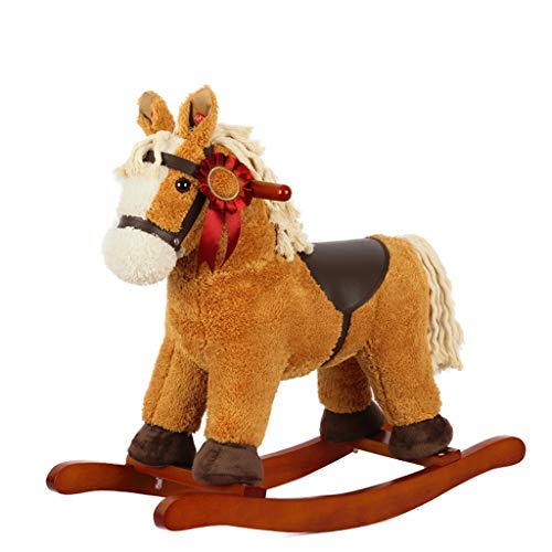 Buy Bargain Rocking horse ZJING Horse Children's Dual-use Solid Wood Music 1-6 Baby Birthday Gift