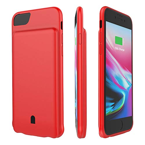 HiKiNS Funda Batería para iPhone 6 Plus/7 Plus/8 Plus 7500mAh Externa Ultra Batería Recargable Power Bank Case Funda Cargador Portatil Batería para iPhone 6 Plus/7 Plus/8 Plus - Red
