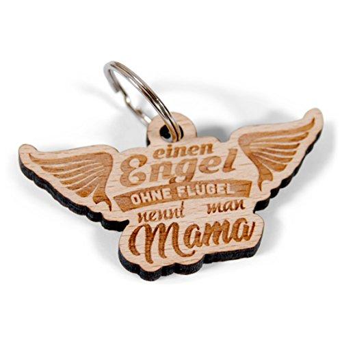 Wogenfels - Schlüsselanhänger mit Gravur Einen EIN Engel ohne Flügel nennt Man Mama | Muttertagsgeschenk - Das Geschenk für Mama zum Muttertag | QUALITÄT und Support aus Österreich