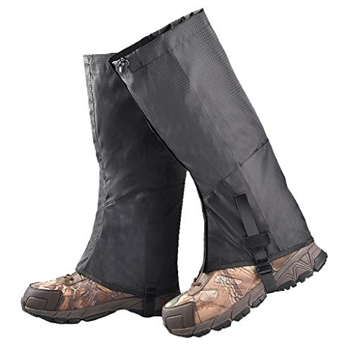 MIS1950s Portable Hiking Leg Gaiters, Snow Boot Gaiters, Breathable Waterproof Walking High Leg Cover, Anti-Tear Oxford Fabric Ski Foot Cover, for Climbing Fishing Hunting Trimming Grass (Black)