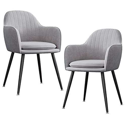 HYRGLIZI Velvet Upholstered Dining Chair Set of 2 Mid-Back Accent Chair Modern Leisure Armchair with Metal Plating Legs Living Room Side Chair (Color : Gray, Size : Black Legs)