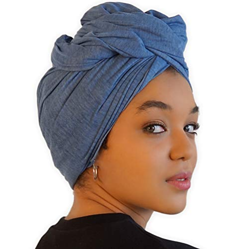 Head Wrap Scarf for Women - African Hair Wraps & Stretch Jersey - Long, Soft & Breathable Turban Tie Urban Headwrap