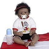 DERUKK-TY 55cm étnico negro renacido muñecas con afro-pelo, real realista afroamericano bebe