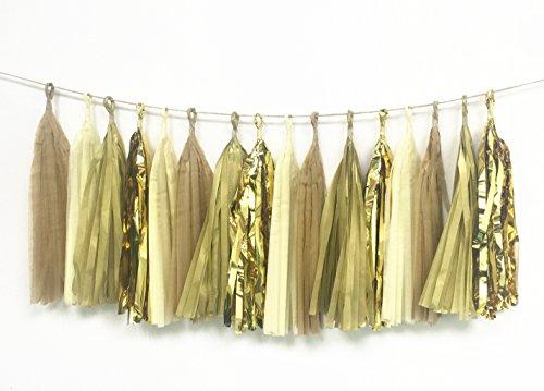 16 x Gold TISSUE PAPER TASSELS Party Wedding decor Garland Tassle Bunting Pom Pom Pip by Originals Group (Kit)
