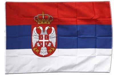Fahne Flagge Serbien mit Wappen 30 x45 cm