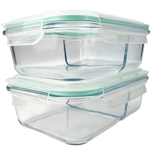 Vallo - Contenedores de cristal para almacenamiento de alimentos (2 compartimentos) con tapas de cierre a presión para sobras, seguro para microondas, horno, lavavajillas,...