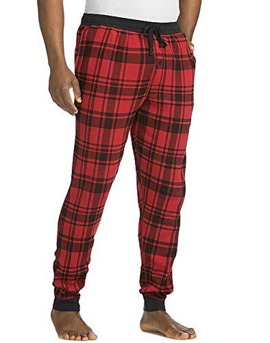 Hanes Men's Waffle Knit Jogger Pant, Red, Medium
