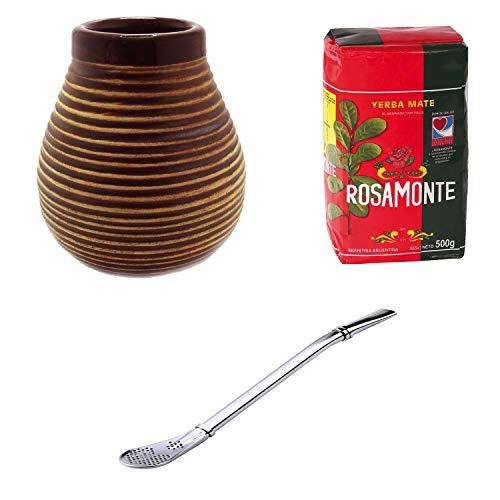 Mein Teeshop, set per mate: tazza in ceramica marrone, bombilla in acciaio inox e Yerba Mate Rosamonte da 500 g
