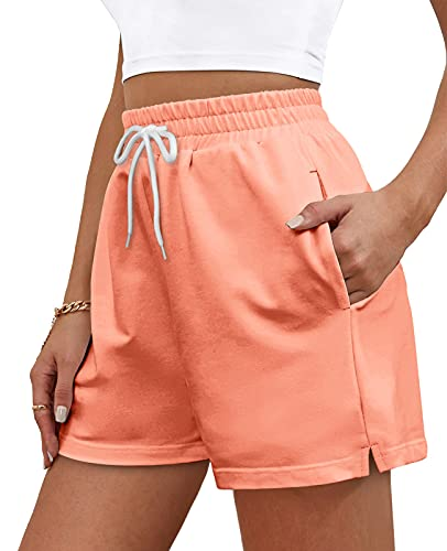 OFEEFAN Womens Stretch Shorts Athletic Short Elastic Waist Running with Pockets Coral M
