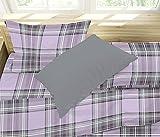 Juego de sábanas para cama de una plaza y media, diseño escocés, color lila