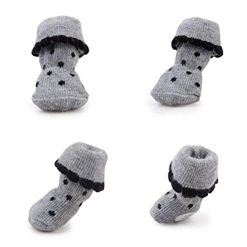 PIXNOR 4pcs mascota perro calcetines antideslizantes de goma de la pata imprime - talla M (gris)