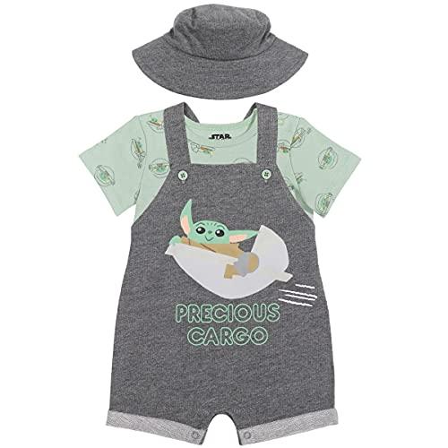 Star Wars The Mandalorian Baby Yoda Baby Boys Shortalls T-Shirt Hat Set Dark Gray 24 Months