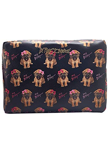 """Faux Leather Travel case Gold Metal Hardware Double Zip Closure Printed Details H 9"""" X W 13"""" X D 6.5"""""""
