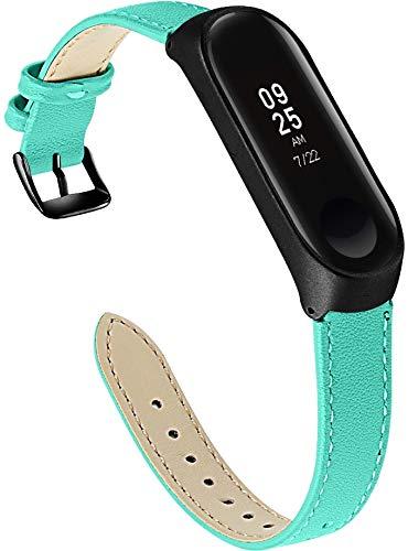 Correa de Reloj Compatible con Xiaomi Mi Band 3 / Mi Band 4 / Mi Smart Band 4 / Mi Fit Band 4, Reloj de Pulsera de Piel auténtica, Estilo Vintage (Pattern 10)
