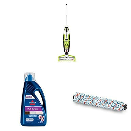 BISSELL CrossWave Floor and Carpet Cleaner with Wet-Dry Vacuum, 1785A - Green with BISSELL, 1789G MultiSurface Floor Cleaning Formula (80 oz) and Bissell 1868 CrossWave Multi-Surface Brush Roll
