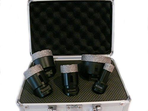Bohrkronen 5-teiliges Koffer-Set M14 in 20/35/40/50/68 mm Fliesen Bohre Bohrkrone Diamantbohrer sehr hochwertig und langlebig