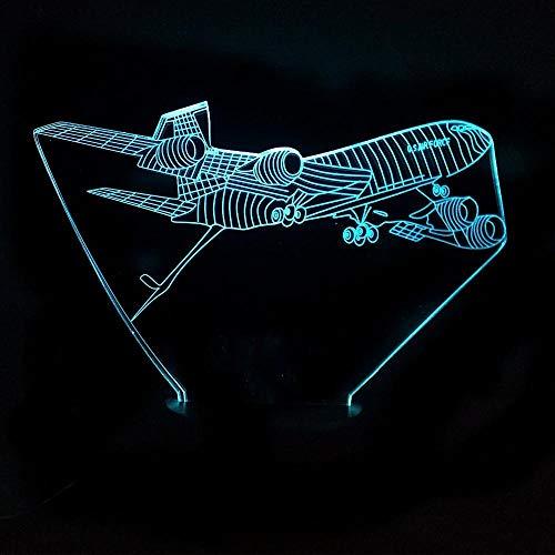 3D nachtlamp/LED afstandsbediening vliegtuig tafellamp 7 kleuren AA * 3 batterij USB helder jongens cadeau