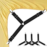 Bed Sheet Fasteners, 4 PCS Adjustable Triangle Elastic Suspenders...