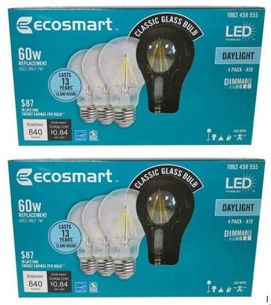EcoSmart 60-Watt Equivalent A19 Dimmable Clear Filament Vintage Style LED Light Bulb, Daylight (8-Pack)