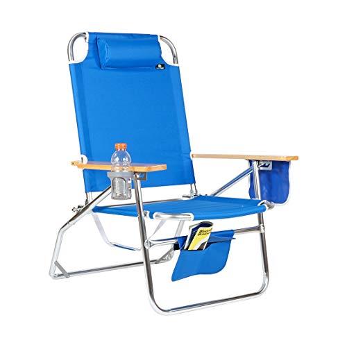 Big Jumbo 500 lbs XL Aluminum Heavy Duty Beach Chair for Big & Tall - 4 Reclining Positions