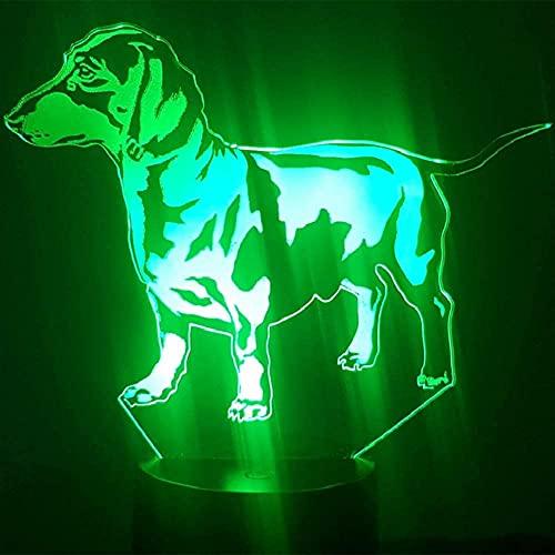 SNFHL Luz de La Noche del Perro del Dogo 3D, Tacto Ligero del Humor de 7 Colores, Regalo Llevado de Los Niños de La Decoración de La Tabla del USB