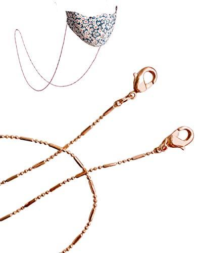 Face Mask Chain | Mask Strap | Mask Holder | Mask Lanyard | Mask Retainer | Necklace for Mask | Leather Mask Carrier | Rose Gold Chain | Women Men Children (Rose Gold Chain)