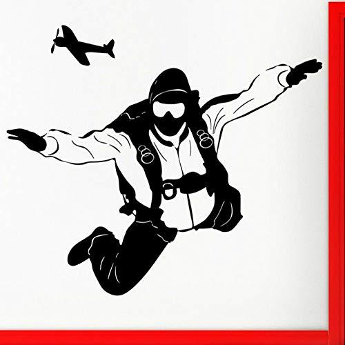 Wandtattoo Wandaufkleber Fallschirmspringen Sport Fallschirmjäger Fallschirmspringer Jumper Vinyl Wasserdicht Schlafzimmer Dekor Poster 49X42 cm