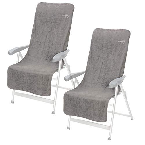 2X Frottee Sitzbezug für Stühle Stuhlbezug mit Polsterung - Sitz Auflage - grau - 135 x 58 cm Campingstuhl Klappstuhl Gartenstuhl Liegestuhl - Schonbezug - weicher Bezug Überzug für Stühle Stoffbezug